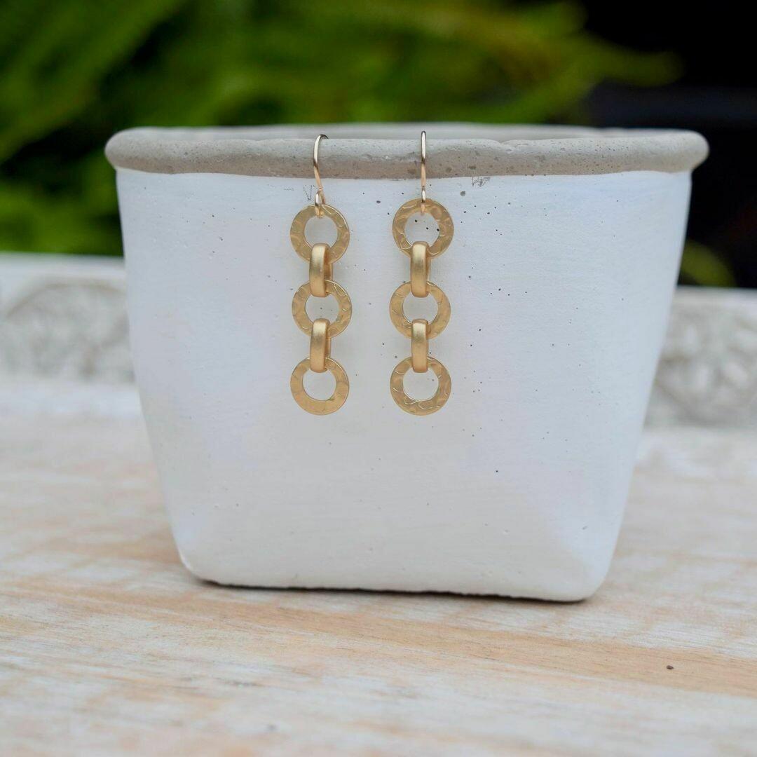 Hammered Matte Gloss Chain Earrings
