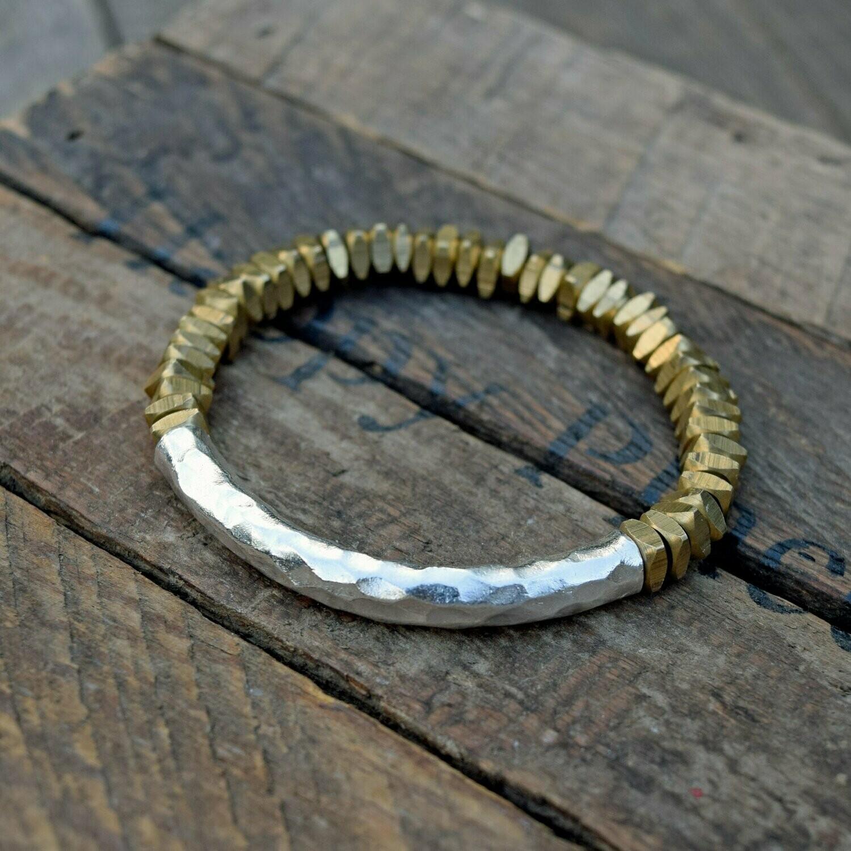 Hammered Thai Silver Bar & Cut Brass Bracelet