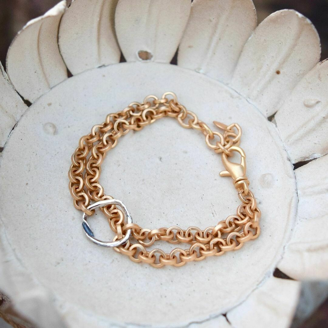 Artisan Sterling Silver & Matte Gold Bracelet