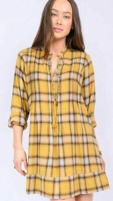 Plaid Long Sleeve Pin Tucked Dress