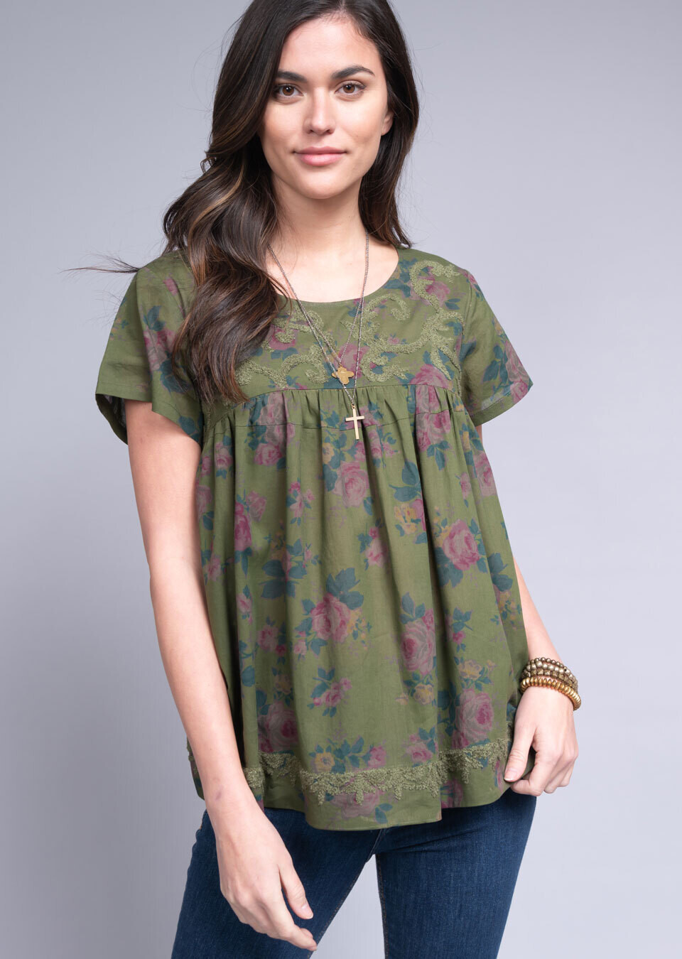 Loopy Scroll Embroidered Top