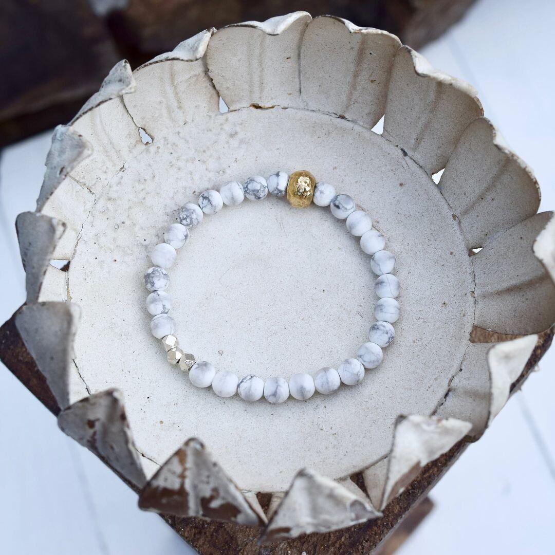 Matte Howlite Gold Bronze & Thai Silver Bracelet