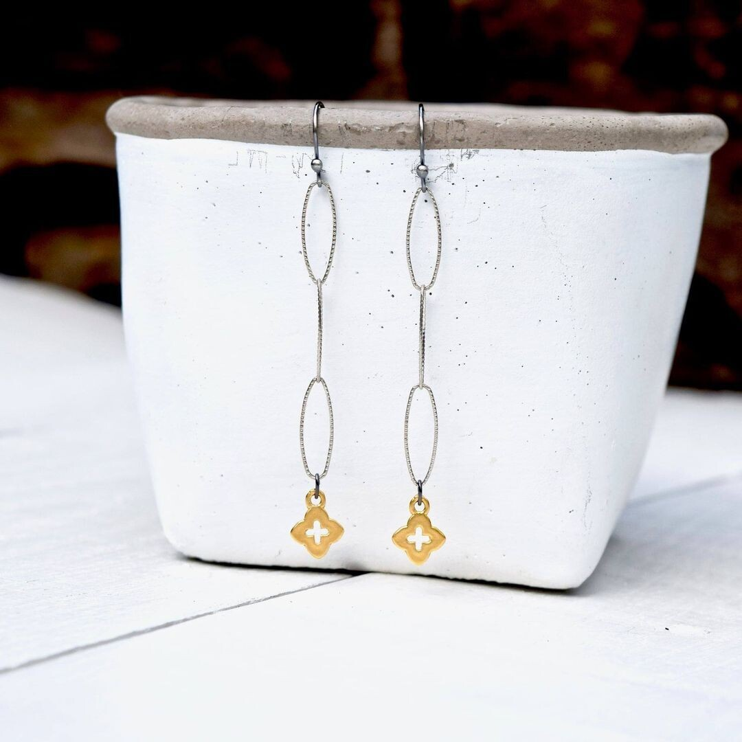 Gold Vermeil Quatrefoil Cross Earrings