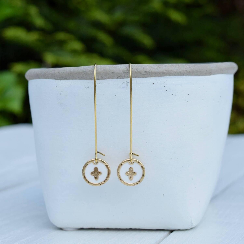 White Enamel & Gold Cross Earrings