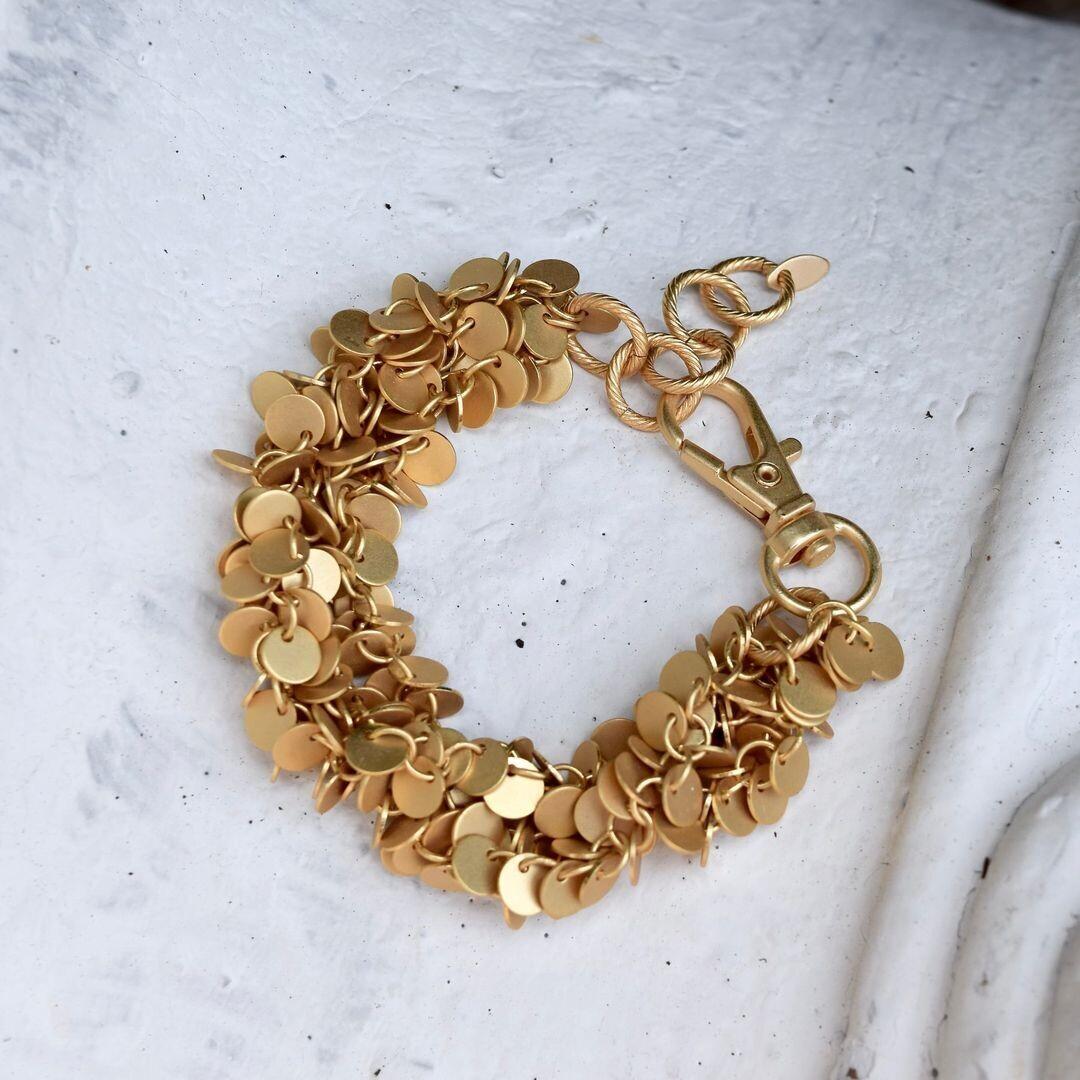 Matte Gold Disc Bracelet