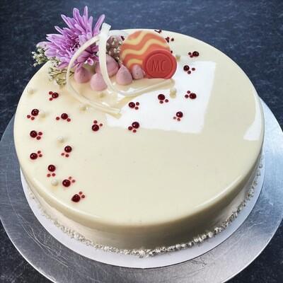 Vanilla Bean Mousse Cake w/ Organic Berry Crémeux