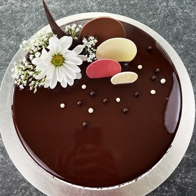 Chocolate Mousse Cake with Organic Berries