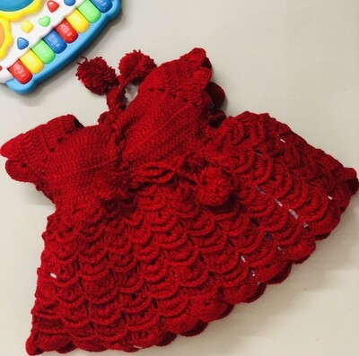 Baby girl knitted red frock