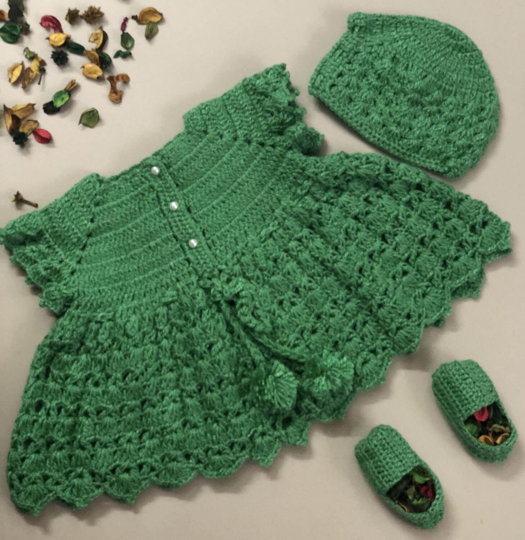 Green Dress, Cap and bootie set