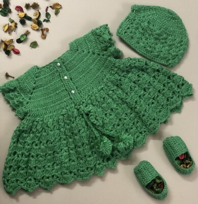Green Dress, Cap and bootie set