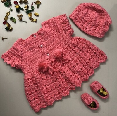 Pink Dress, Cap and Booties set