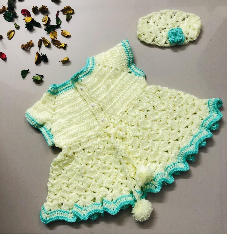 Lemon Yellow Dress with green frills