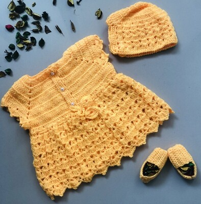 Yellow dress, cap and booties set