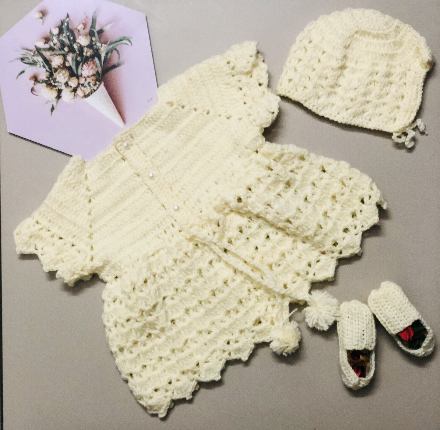 Off white dress, hat and booties set