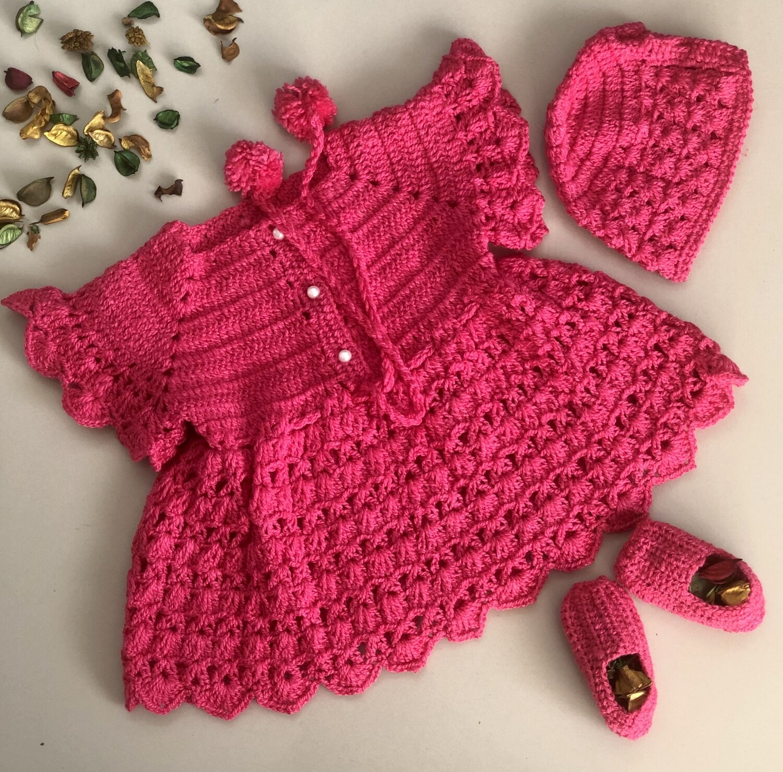 Bright pink dress, cap and booties set
