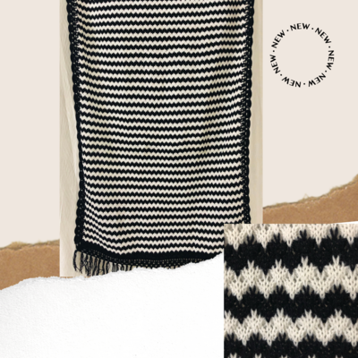 Black and white woolen stole