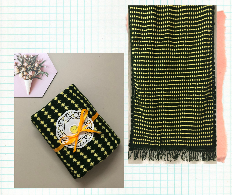 Dark green and yellow woolen stole