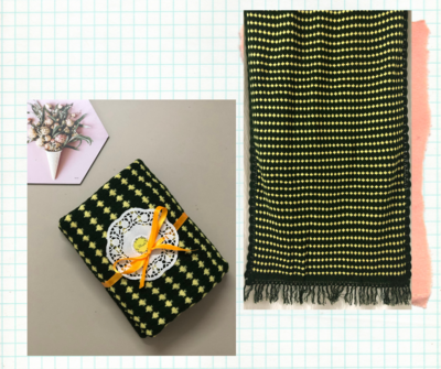 Dark green and yellow woolen stole