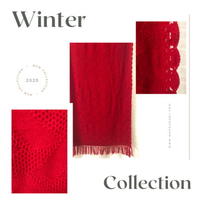 Red woolen shawl