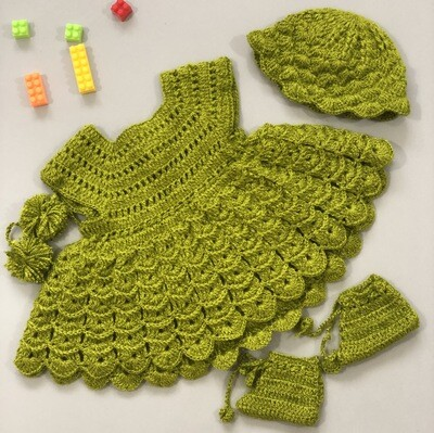 Bright Green Baby Dress, Booties And Cap