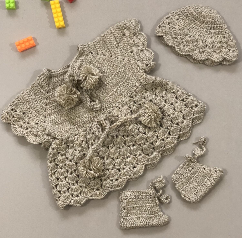 Beige Baby Dress, Booties And Cap Combo
