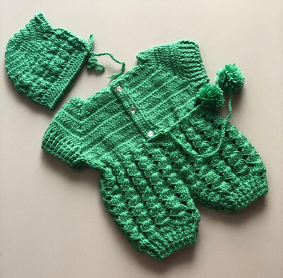 Green Romper with Cap