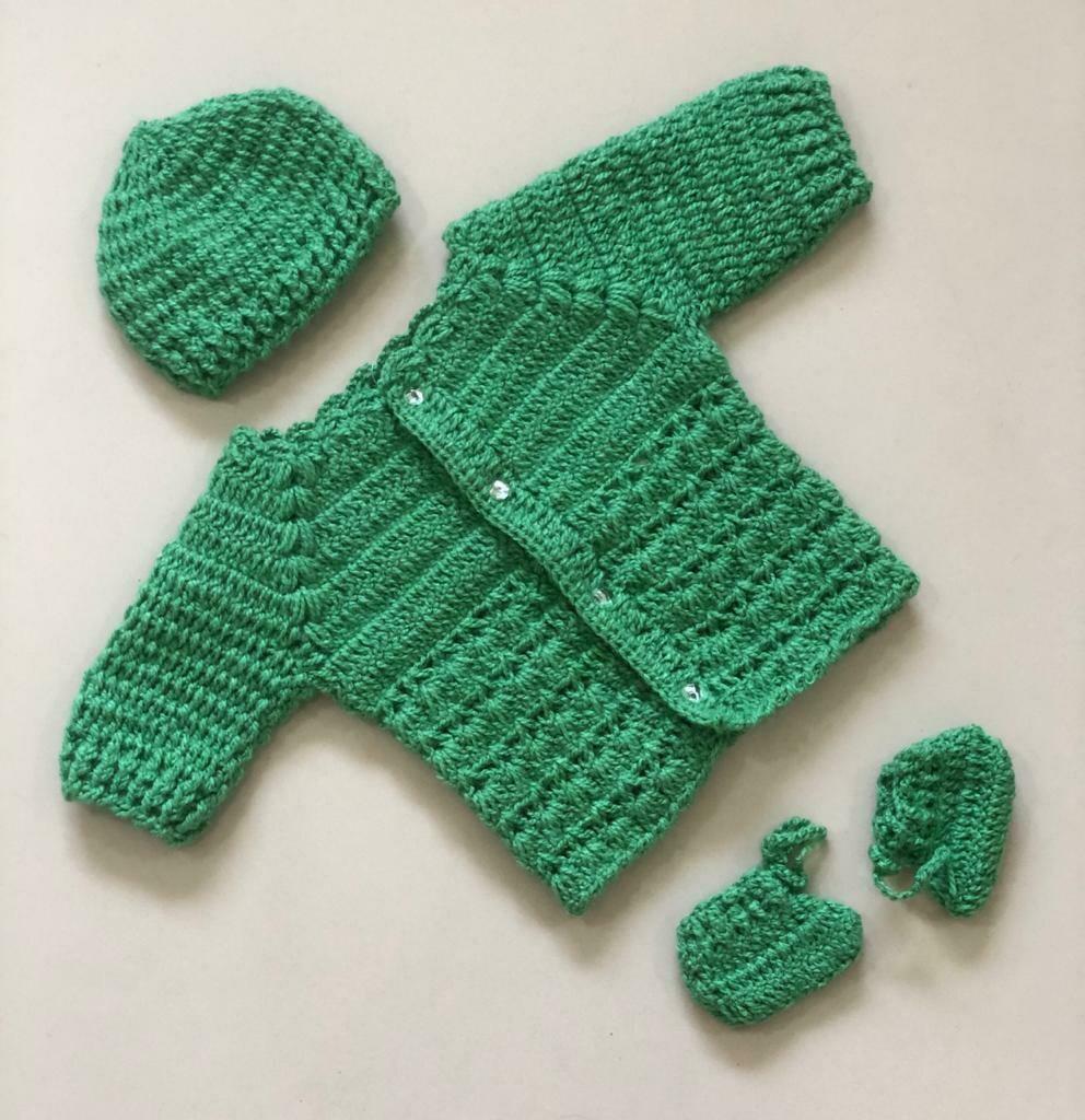 Newborn Baby Sweater, cap and bootie set Dark Green
