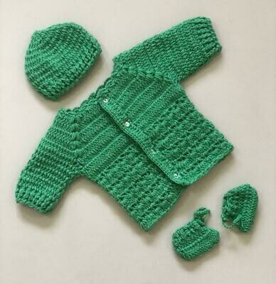 Newborn Baby Sweater, cap and bootie set Dark Green
