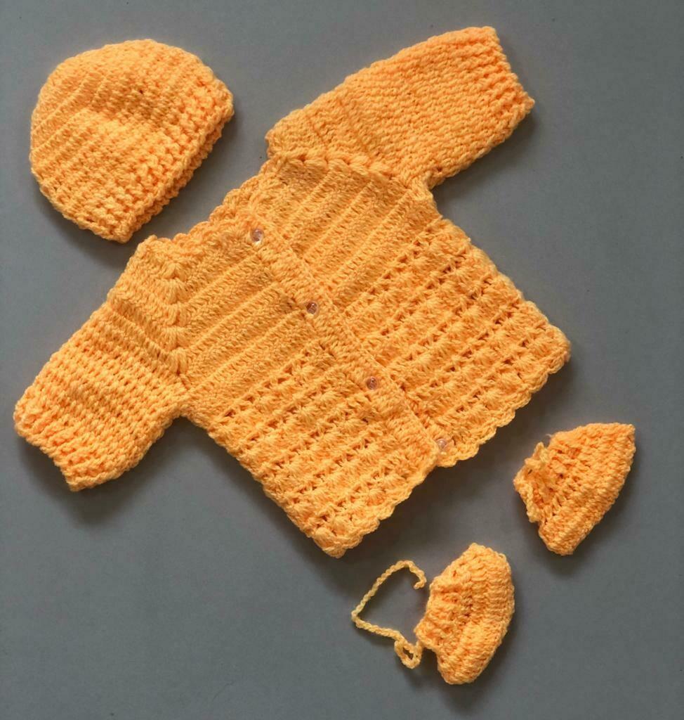 Newborn Baby Sweater, cap and bootie set Yellow