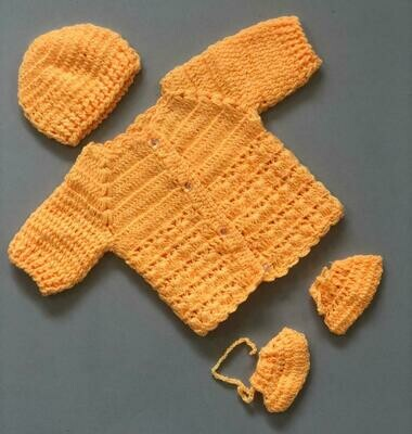Newborn Baby Sweater, cap and bootie set Yellow