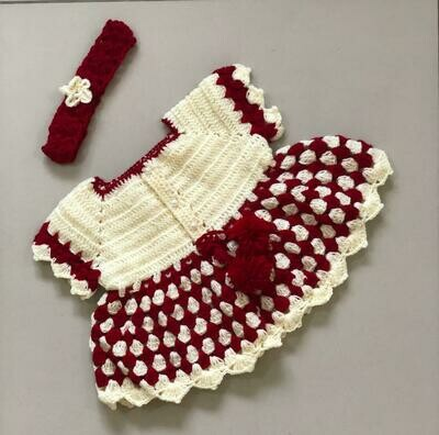 Red And Off White dress and Headband Set