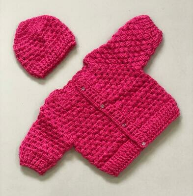 Bright Pink Baby Sweater and cap set