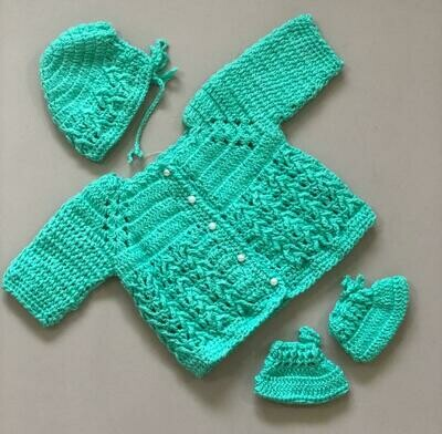 Sea Green Baby Sweater, cap and bootie set