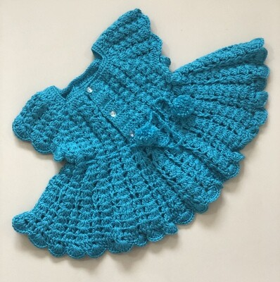 Baby girl knitted Blue frock