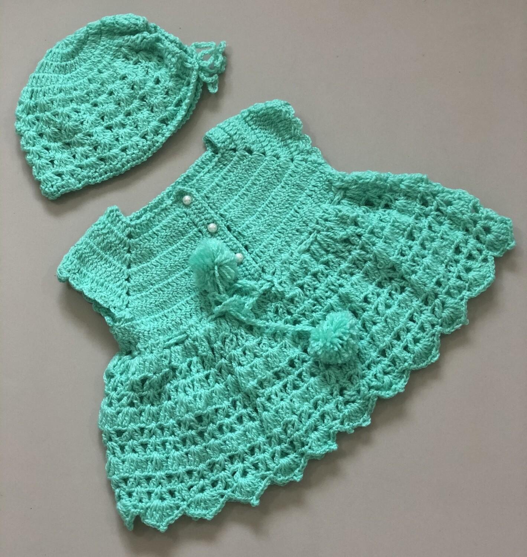 Sea Green Baby Dress And Cap Combo