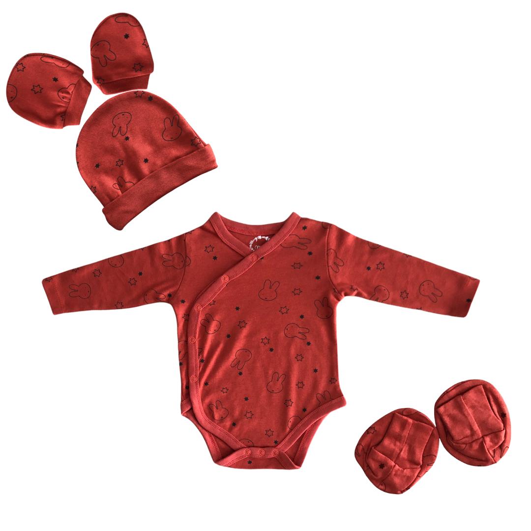 Newborn Front open Onesie, Mittens, Booties And Cap Set (Orange/Red, 0-6 Months)