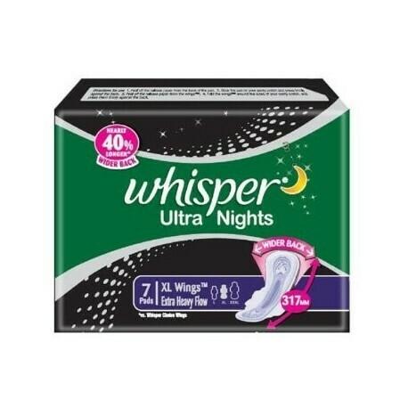 WHISPER ULTRA NIGHT SANITARY PADS WITH WINGS -3 PIECE (XXXL)