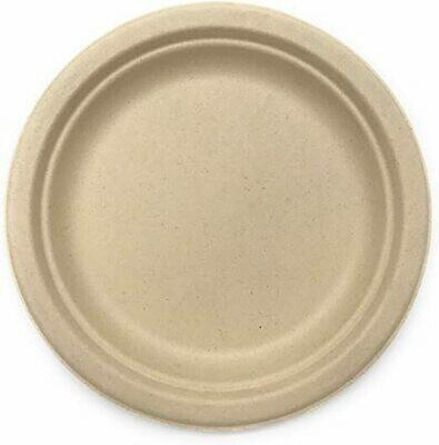 "Caribe Compostables 9"" Round Fiber Plate 1000 Units per case"