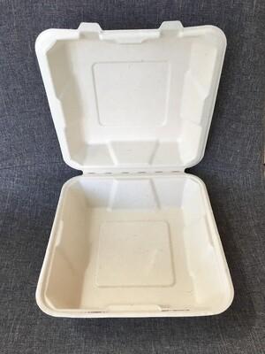 Caribe Compostables 8 x 8 To Go Fiber Container Single Compartment 200 Units per case