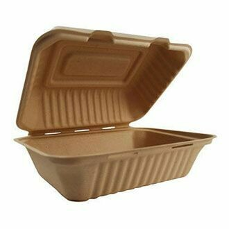 Caribe Compostables 9 x 6 To Go Fiber Container 500 Units per case