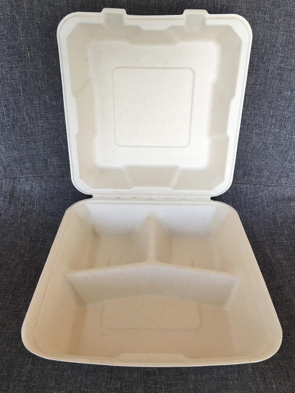 Caribe Compostables 3 Compartment 8 x 8 To Go Fiber Container 200 Units per case