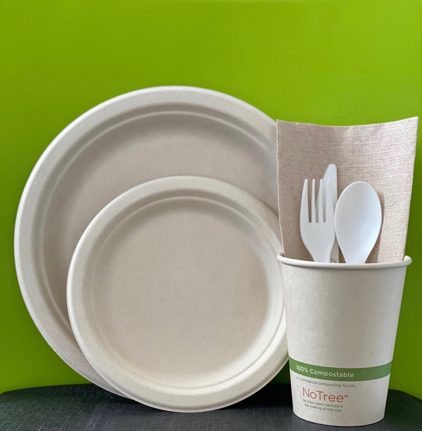 "Caribe Compostables EcoKit (50 Units of Forks/50 Units of Knifes/50 Units of Spoons/50 Units of 7' inch Fiber plates/50 Units of 9"" inch Fiber plates/50 Units of 12oz cups/160 Units of Dinner napkins)"