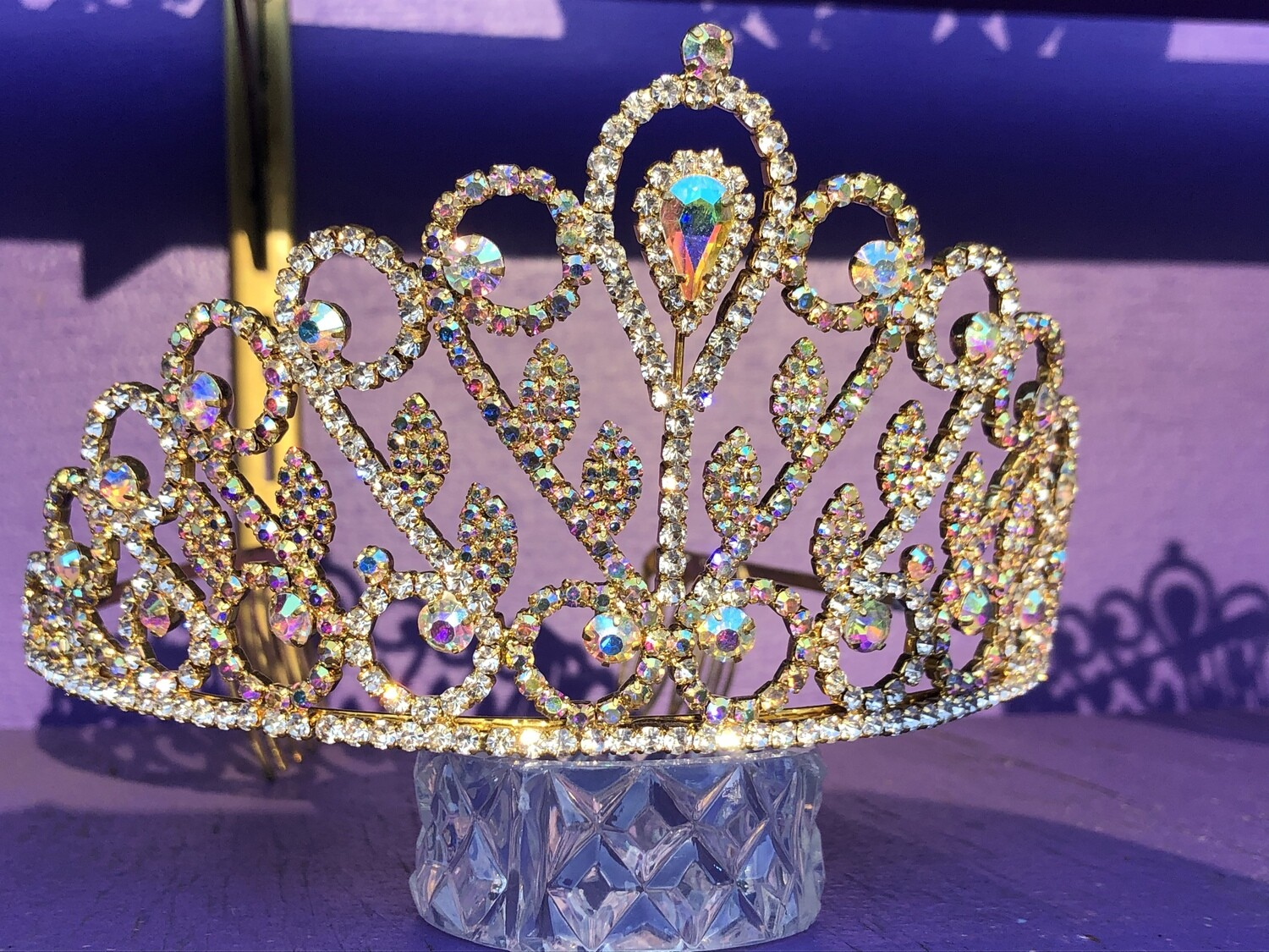 Gold tiara  With AB Crystals.  Shimmers!