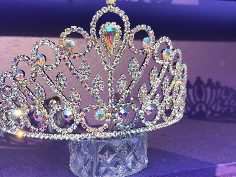 Silver tone tiara with AB crystals. Side combs