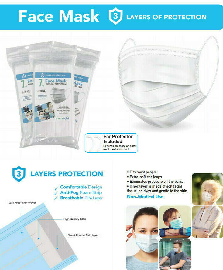 46720 3-LAYER FACE MASK 7CT