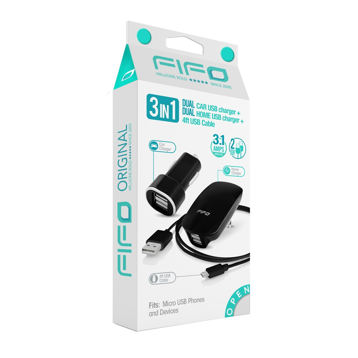 FIFO 3 in 1 DUAL USB HOME + CAR CHARGER + MICRO USB CABLE