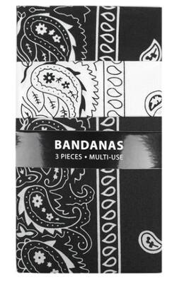 87150 3pk Bandanas - 2 Black & 1 White