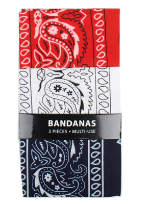 87151 3pk Bandanas - Navy, White & Red