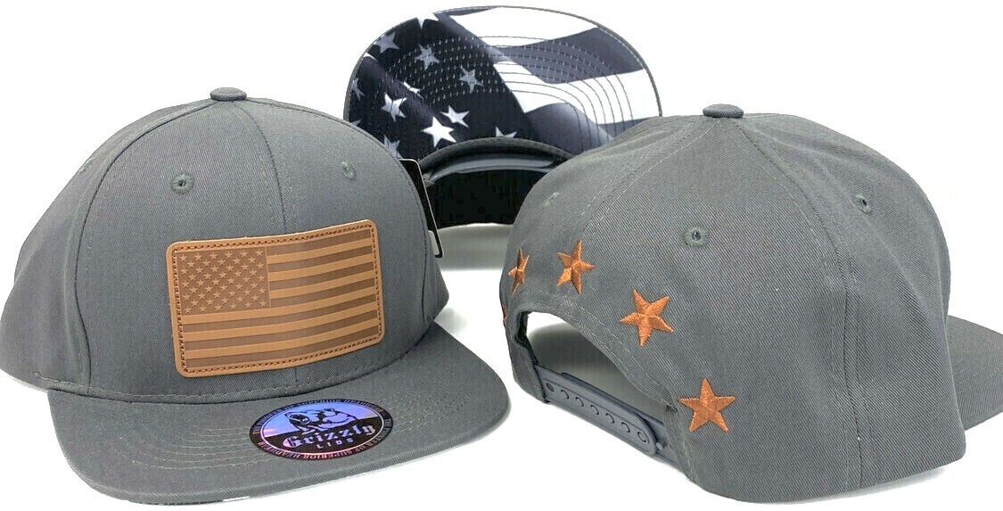 USA FLAG SQUARE LEATHER SNAPBACK​ HAT​​​