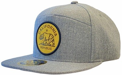 CALIFORNIA BEAR ROUND PATCH LEATHER SNAPBACK HAT